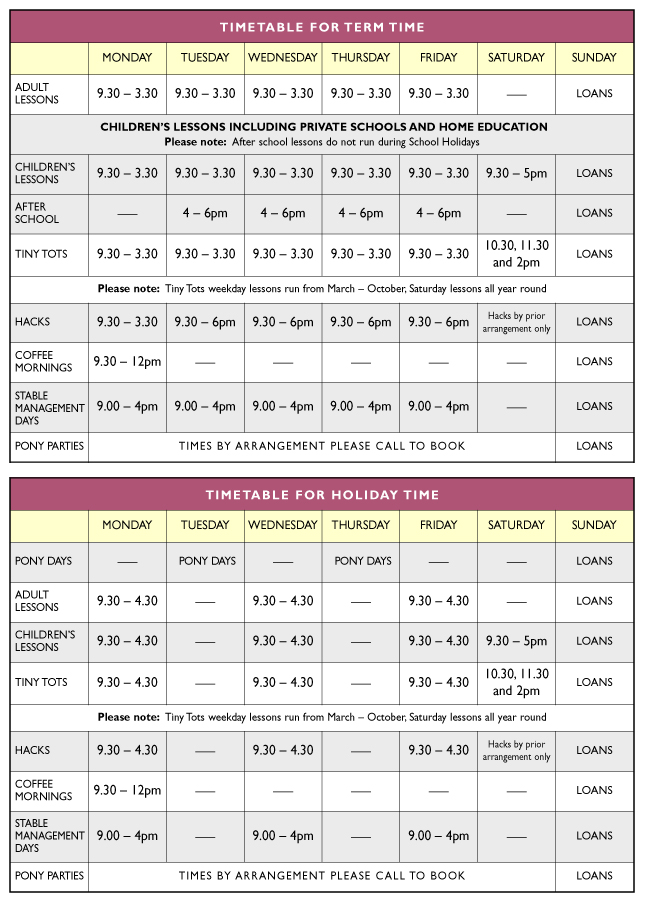 glebe field timetable